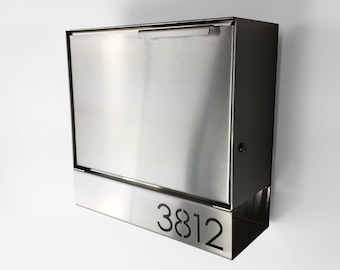 Modern mailbox - stainless steel design, Modern Mailbox medium, Wall Mounted mailbox, contemporary house - lock #sb