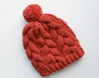 Ready To Ship / Handmade Braided Cable Hat in Rouge
