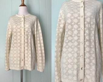 1970s British Vogue Cream Knit Sweater | 70s Wintuk Ivory Polka Dot Cardigan | Vintage Retro Long Sleeve Button Down Open Weave Knitted Top