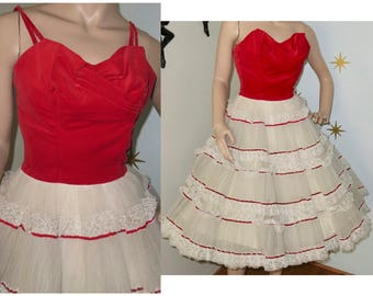 Vintage 1950s red velvet white lace cupcake party dress XS 237