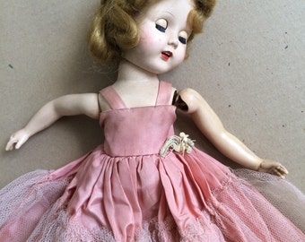 1950s pretty doll, 14' high,  in need of TLC and a good wash!