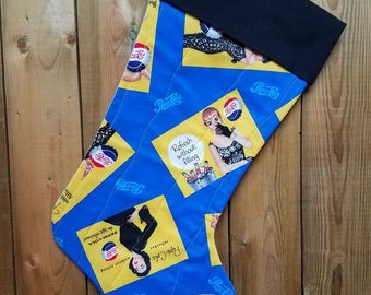 Pepsi Cola Ad Quilted Christmas Stocking