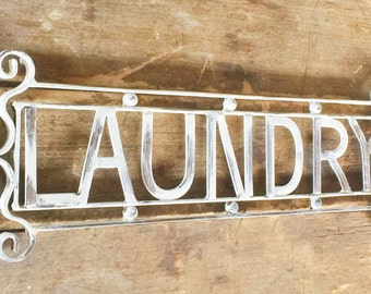 Vintage Metal Laundry Sign Linen Cream Distressed Paint