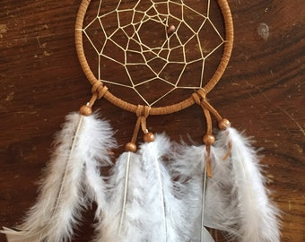 Brown suede leather handmade dreamcatcher, authentic dreamcatcher