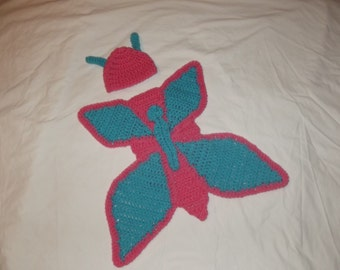 crochet baby butterfly photo prop