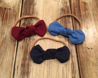 Set of 3 knot bows- headbands-nylon headbands-set of bows-baby girl bows-1st birthday- fabric bows- blue bow-maroon bow- shop small-nylon