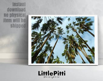 Palm tree wall art, palm tree decor, tropical wall art, printable wall art, palm tree poster, california wall art, digital wall art, palms
