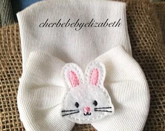 Bunny Spring Newborn beanie with white bow, white bow hospital hat with an Easter bun ny, keepsake, Newborn, Hospital Hat