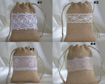 Favor Bags, Wedding, Burlap Lace Gift Bags, Thank you gift bags, Sets of 10, 20, 30, 40 or 50