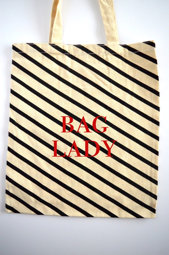 Bag Lady Tote Bag - Canvas White and Black Stripes