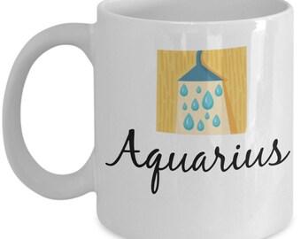 Zodiac Mug - Aquarius Fun Symbol - 11 oz Gift Mug