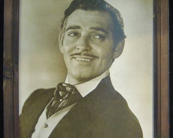 "Picture of Clark Gable in 18"" x 13"" Wooden Frame - pre-owned (SS)"