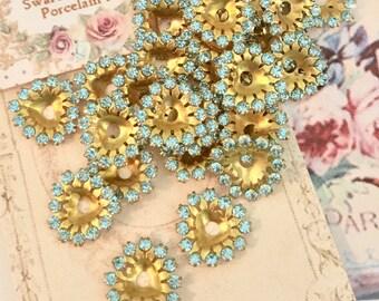 5 vintage sparkly swarovski aquamarine crystal heart brass setting no.mh625-7
