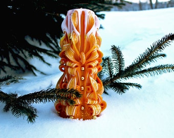 Carved candle. Candle Yellow. Yellow Candle. Unique Gift