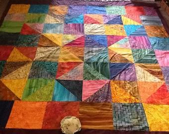 """Colourful Vibrant Full size Batik Patchwork Quilt 100""""x 100"""""""