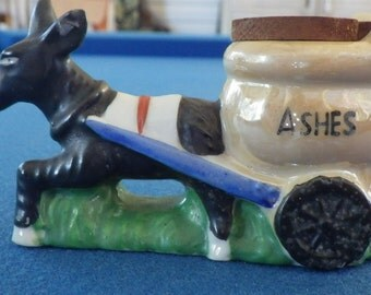 Collectible Vintage Antique Donkey Hauling Brown Ash Cart (Occupied Japan)