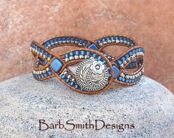 "Beaded Woven Leather Bracelet, Wrap Cuff Bracelet, Blue Silver Bracelet, Woven Leather Bracelet, 7"" or Custom Size, D'Vine One ""Blue Suede"""