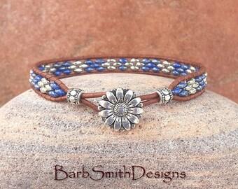 Slim Blue Silver Bracelet, Beaded Leather Wrap Bracelet, Denim Beaded Bracelet, Blue Leather Bracelet, The Skinny One in Denim n' Silver