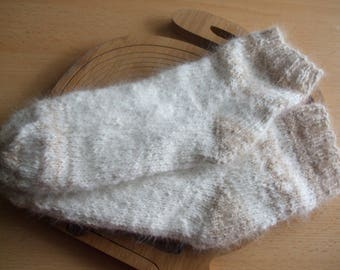 Warm sofa/bed socks made of 100% angora wool