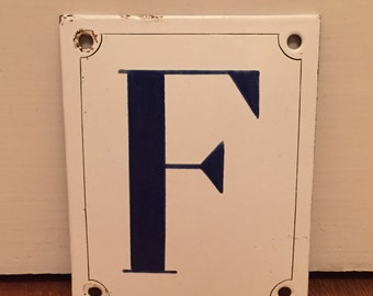Enamal sign. Letter F. Made in Rotterdam 1935. Rare condtion.