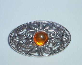 REDUCED  Genuine Amber & Silver Filigree Brooch