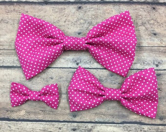 Pink Polka Dot Fabric Bow (3 sizes) on Metal Clip, Elastic Headband, or Hair Tie; Pink Fabric Hair Bow, Hot Pink Hair Bow, Large Pink Bow