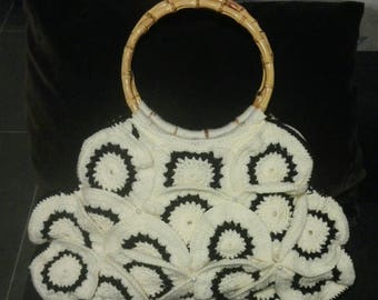 Big white bag with bamboo handles and black crochet, gift for her, birthday gift, handmade bag