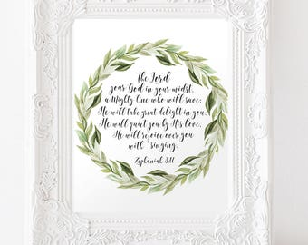 The Lord your God is in your midst Zephaniah 3:17 Bible Verse Wall Art Laurel Wreath Scripture Quote Christian Home Decor Instant Download