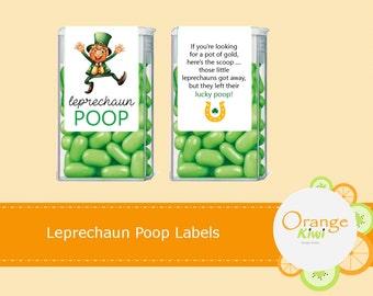St Patrick's Day Tic Tac Labels, Leprechaun Poop Tic Tac Wraps