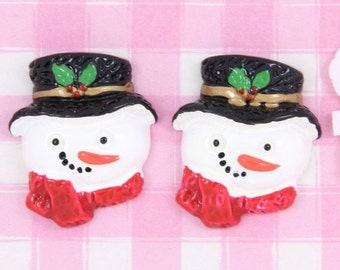 10% OFF SALE 6 x Cute Snowman Christmas Xmas Cabochon Embellishments Kawaii Crafts Decoden