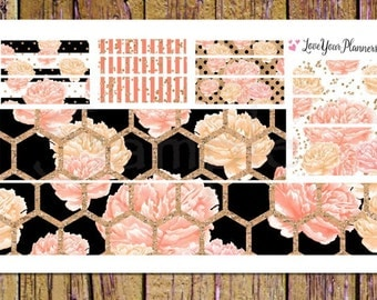 EMMA Peach Gold Floral Bottom Washi and Washi Strips Planner Stickers Washi Planner Stickers Washi Stickers Floral Planner Gold Glitter W195