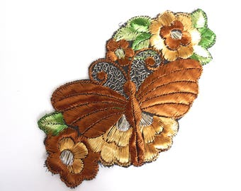 Butterfly on flower applique, 1930s vintage embroidered silk applique. Vintage floral patch, sewing supply. #6A8G43KB