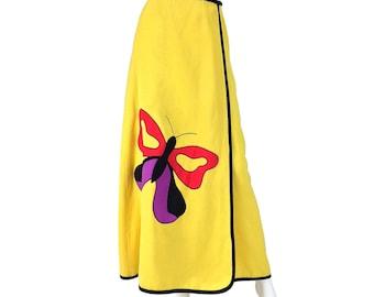 Vintage Clothing, 70s Maxi Skirt XS S, Wrap Skirt, Pop Art Skirt, Boho Maxi Skirt, Butterfly Skirt, Color Block Skirt, SIZE XS S 0 2 4