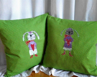 Pillow Case Rabbits 40 x 40 cm. Easter 2 pieces of cotton embroidered.