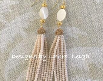 SALE | Ivory Beaded Tassel Earrings | statement earrings, party jewelry, pavé, dressy, wedding, bridal, gold, pearl