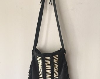 Black women's crossbody handbag, from real leather with elements of fashionable leather fringe, handmade, new collection, size-medium.