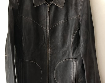 Wilsons jacket from real durable leather worker style vintage mid length jacket steep lightweight women's black jacket has size-large.