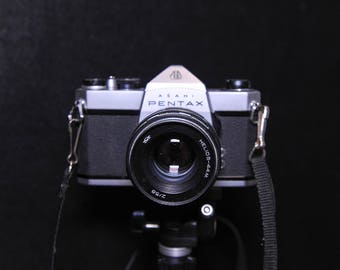 Pentax Asahi Spotmatic SP1000 35mm Film SLR Camera with case choose from either i Helios-44m 58mm f2.0 or ii Chinon 200mm f3.5 lens #18