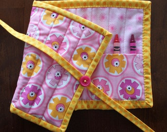 Pink Flower Crayon Holder, Hubba Hubba, Crayon Roll, Crayon Roll Up, Art Supplies, Yellow Pink, Girl Crayon Tote, Moda, Girl Crayon Holder