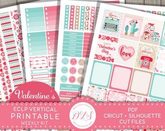 February Planner Stickers for Erin Condren Planner, Valentines Planner Stickers, Weekly Planner Kit, Vertical Planner Kit, Digital, VS124
