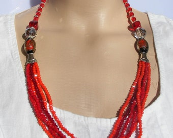 Fire Flower - Long Beaded Necklace / Seed Bead Necklace