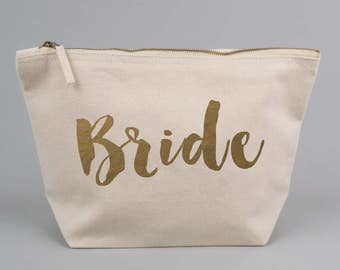 Bride / Wedding Engagement Gift Bag / Large Zipped Make up / Toiletry Bag with Gold foiled Text on a Natural Cotton Canvas