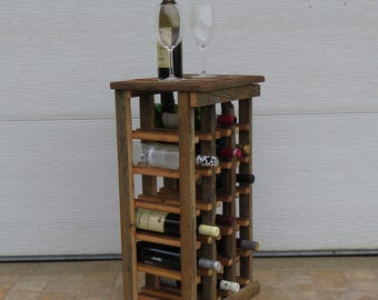 18 Bottle Rustic Wine Rack Handmade, Reclaimed Wine Rack, Barn Wood, Wooden  Wine