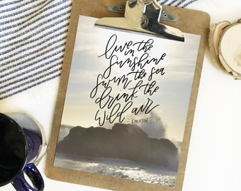 Live in the Sunshine . Hand lettered print . 8x10 . photo print . Emerson quote . drink the wild air . ocean . water . beach . wild