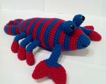 Lobster, Crochet Lobster, Amigurumi Lobster, Red & Teal Lobster, Handmade, Soft Toy