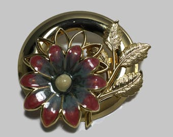 Vintage Enamel Brooch With Case