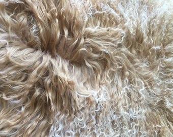Genuine Mongolian Tibetan whole curly lambskin  hide pelt  sheepskin Fur wool pelt Rug Beige with snow top