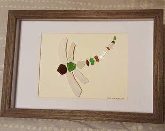 sea glass and sea shell dragonfly