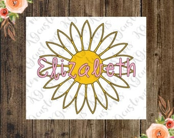Daisy Flower Vinyl Decal with Name