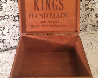 vintage wooden cigar box rubyu0027s kings hand made corona size wh snyder u0026 sons